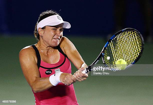 Alexandra Dulgheru of Romania in action during the Singles Final of the BMW Malaysian Open at the Royal Selnagor Golf Club Centre Court on March 8...