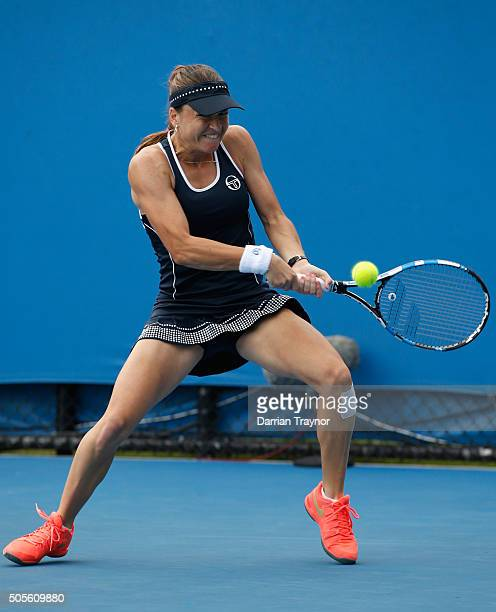 Alexandra Dulgheru of Romania plays a backhand in her first round match against Storm Sanders of Australia during day two of the 2016 Australian Open...