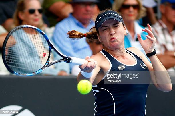 Alexandra Dulgheru of Romania plays a forehand in her singles match against Marina Erakovic of New Zealand on day three of the 2016 ASB Classic at...