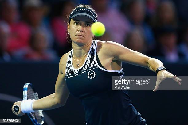 Alexandra Dulgheru of Romania plays a forehand return against Caroline Wozniacki of Denmark during day four of the 2016 ASB Classic at ASB Tennis...
