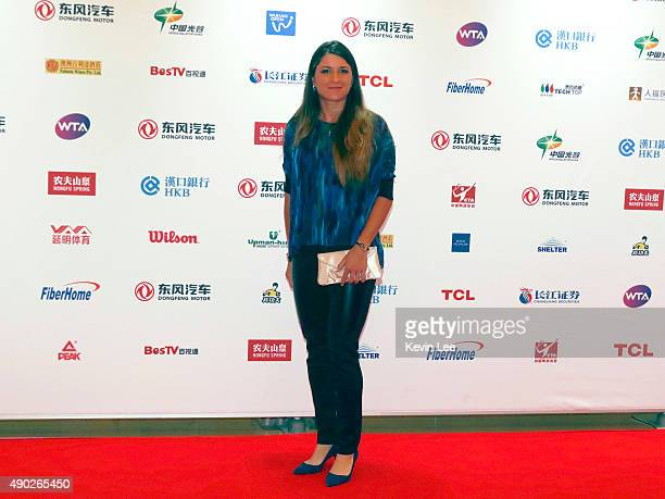 Alexandra Dulgheru poses for a picture at the red carpet at Wanda Realm Hotel on September 27 2015 in Wuhan China