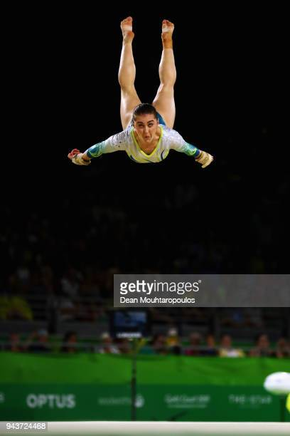 Alexandra Eade of Australia competes in the Women's Floor Exercise Final during Gymnastics on day five of the Gold Coast 2018 Commonwealth Games at...