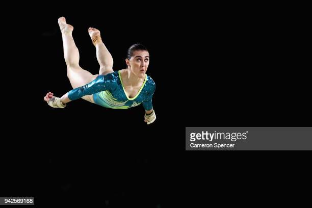 Alexandra Eade of Australia competes on the beam during the Women's Team Final and Individual Qualification Artistic Gymnastics on day two of the...