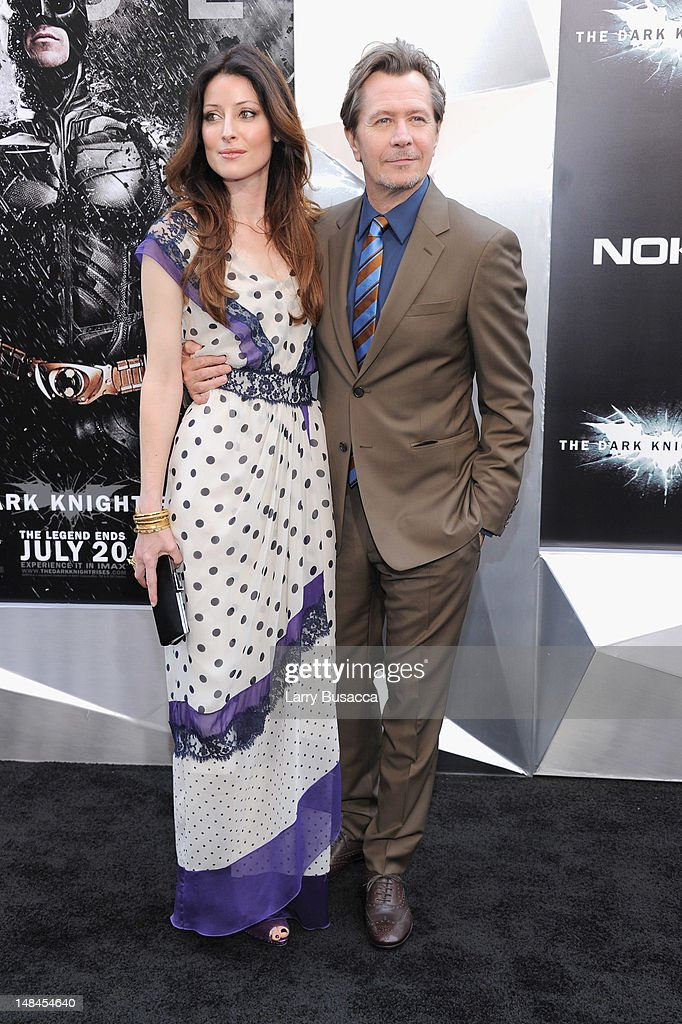 Alexandra Edenborough and Gary Oldman attend 'The Dark Knight Rises' premiere at AMC Lincoln Square Theater on July 16, 2012 in New York City.