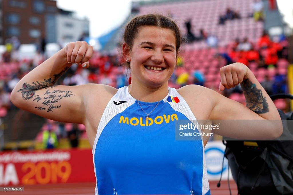 Alexandra Emilianov of Moldova celebrates winning gold in the final of the women's discus on day three of The IAAF World U20 Championships on July 12, 2018 in Tampere, Finland.