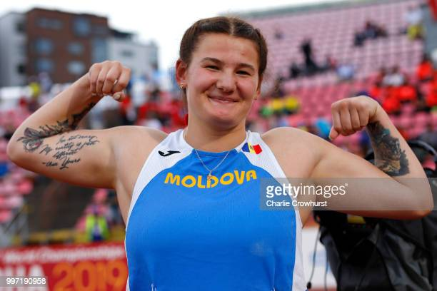 Alexandra Emilianov of Moldova celebrates winning gold in the final of the women's discus on day three of The IAAF World U20 Championships on July 12...