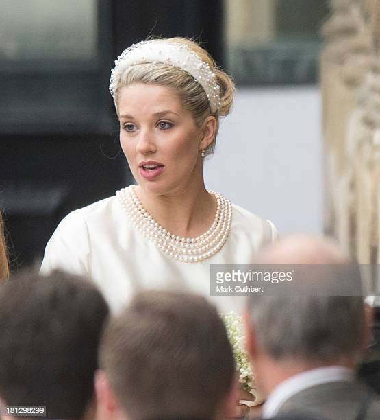 Alexandra Finlay arrives for her wedding to Alexander Fellowes at St Mary's Undercroft on September 20 2013 in London England