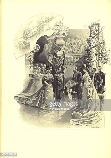 Alexandra Fyorodovna and Nicholas II during the ceremonial reception at the French Embassy 1899 Found in the collection of State History Museum...