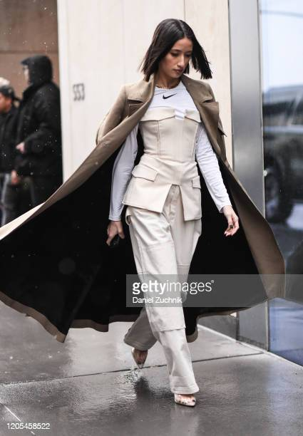 Alexandra Geurain is seen wearing a Dion Lee outfit, Nike shirt and Fenty heels outside the Dion Lee show during New York Fashion Week: A/W20 on...
