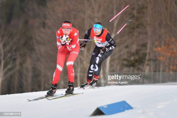 Alexandra Glazunova of Russia and Annika Malacinski of the USA during the Nordic Combined Mixed Gundersen Normal Hill HS109/4x2.5 K Competition of...