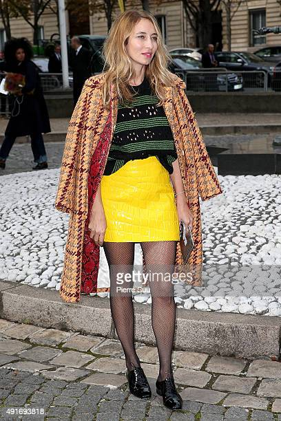 Alexandra Golovanoff arrives at the Miu Miu show as part of the Paris Fashion Week Womenswear Spring/Summer 2016 on October 7 2015 in Paris France