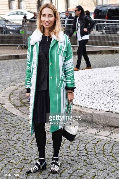 Alexandra Golovanoff is seen arriving at Miu Miu fashion show during the Paris Fashion Week Womenswear Fall/Winter 2017/2018 on March 7 2017 in Paris...