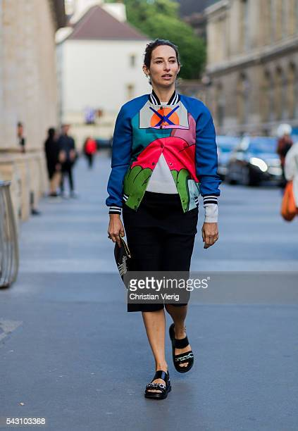 Alexandra Golovanoff outside Hermes during the Paris Fashion Week Menswear Spring/Summer 2017 on June 25 2016 in Paris France