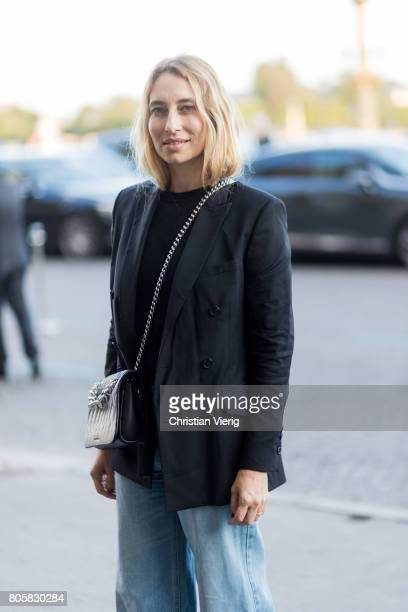 Alexandra Golovanoff outside Miu Miu Cruise Collection during Paris Fashion Week Haute Couture Fall/Winter 20172018 Day One on July 2 2017 in Paris...
