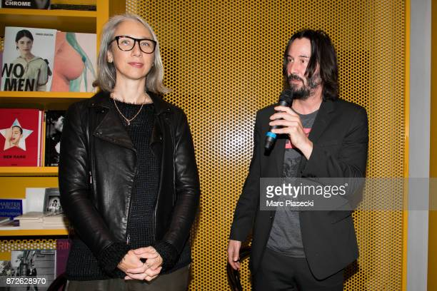 Alexandra Grant and actor Keanu Reeves attend the 'X Artists' books launch at Palais De Tokyo on November 10 2017 in Paris France
