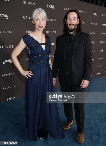 Alexandra Grant and Keanu Reeves attend the 2019 LACMA 2019 Art + Film Gala Presented By Gucci at LACMA on November 02, 2019 in Los Angeles,...