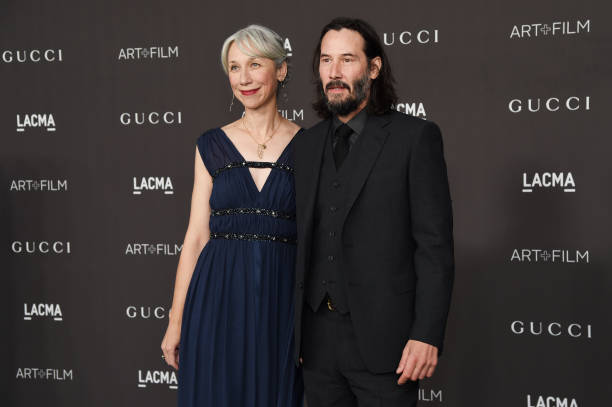 Alexandra Grant and Keanu Reeves attend the 2019 LACMA 2019 Art Film Gala Presented By Gucci at LACMA on November 02 2019 in Los Angeles California