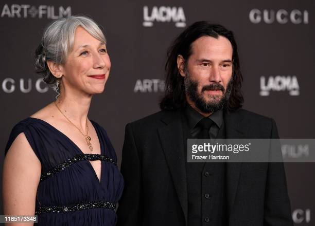 Alexandra Grant and Keanu Reeves attend the 2019 LACMA 2019 Art Film Gala Presented By Gucci on November 02 2019 in Los Angeles California