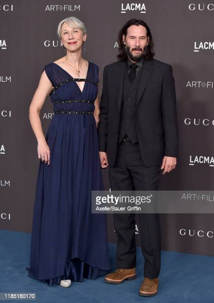 Alexandra Grant and Keanu Reeves attend the 2019 LACMA Art Film Gala Presented By Gucci on November 02 2019 in Los Angeles California