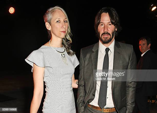 Alexandra Grant and Keanu Reeves attend the UNAIDS Gala during Art Basel 2016 at Design Miami/ Basel on June 13 2016 in Basel Switzerland