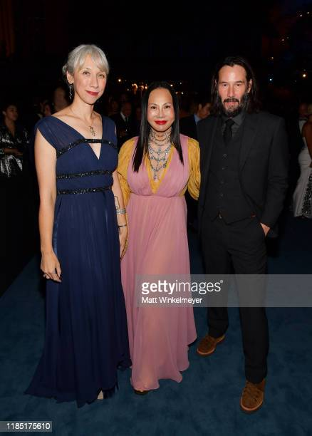 Alexandra Grant LACMA Trustee wearing Gucci and Keanu Reeves attend the 2019 LACMA Art Film Gala Presented By Gucci at LACMA on November 02 2019 in...