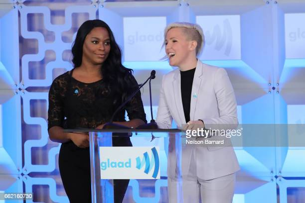 Alexandra Grey and Hannah Hart speak on stage during the Inaugural GLAAD Rising Stars Luncheon at The Beverly Hilton Hotel on March 31 2017 in...