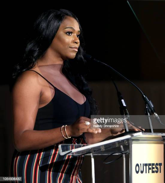 Alexandra Grey on stage during the 2018 Legacy Awards gala for the Outfest UCLA Legacy Project at Vibiana on October 28 2018 in Los Angeles California
