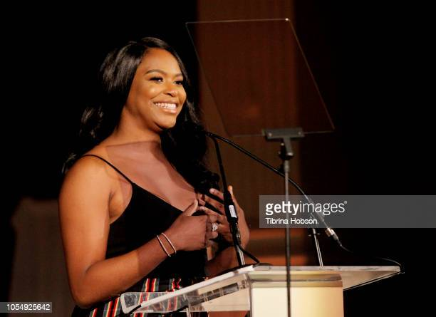 Alexandra Grey speaks onstage at the 13th Annual Outfest Legacy Awards Vibiana on October 28 2018 in Los Angeles California