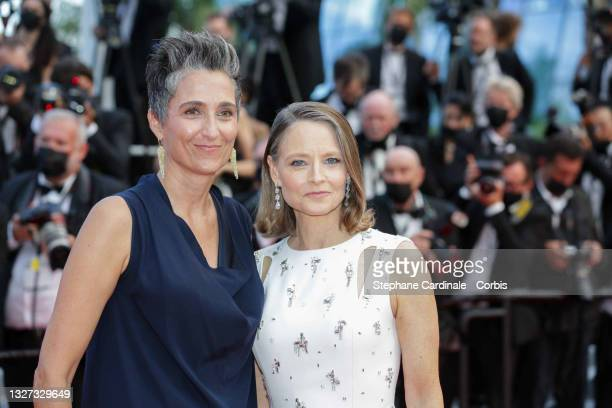 """Alexandra Hedison and Jodie Foster attend the """"Annette"""" screening and opening ceremony during the 74th annual Cannes Film Festival on July 06, 2021..."""