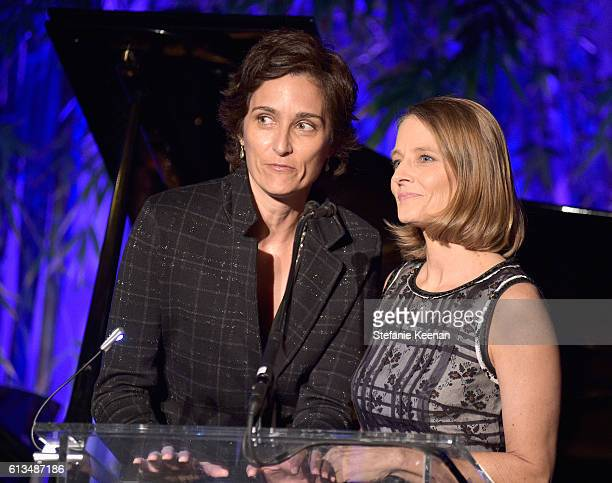 Alexandra Hedison and Jodie Foster speak onstage at the Hammer Museum 14th Annual Gala In The Garden with generous support from Bottega Veneta at...