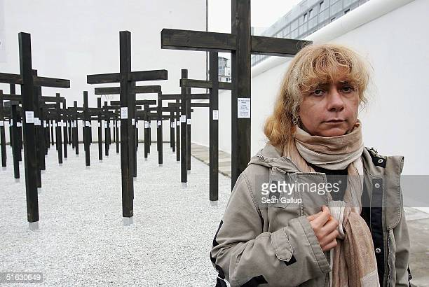 Alexandra Hildebrandt attends the unveiling of the memorial to victims of the Berlin Wall she commissioned on October 31 2004 in central Berlin...