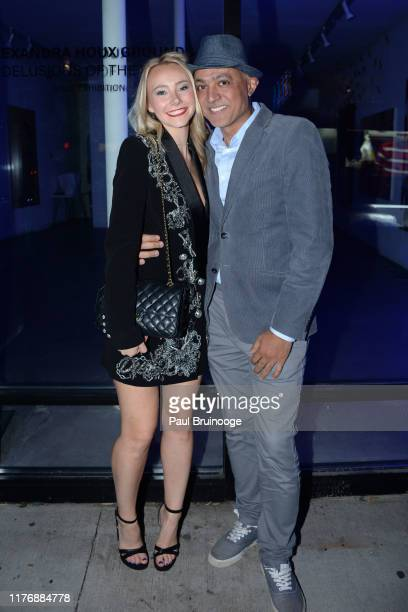Alexandra Houx Grounds and Ahmed Awney attend Delusions of the Wild Solo Exhibition By Alexandra Houx Grounds at 213 Bowery on October 17 2019 in New...