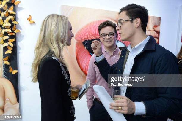 Alexandra Houx Grounds Guest and Augustine Baugier attend Delusions of the Wild Solo Exhibition By Alexandra Houx Grounds at 213 Bowery on October 17...