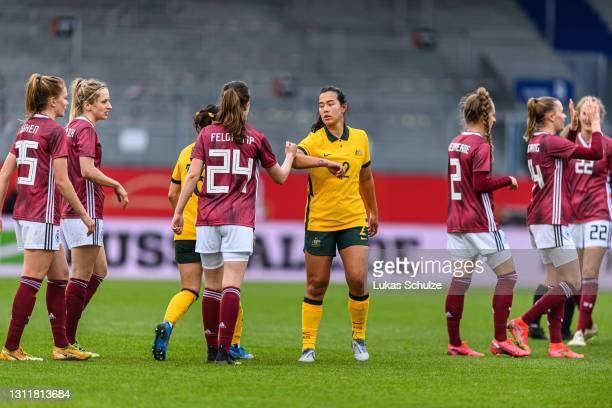 Alexandra Huynh of Australia shakes hands with players of Germany after the International Friendly between Germany and Australia at BRITA-Arena on...