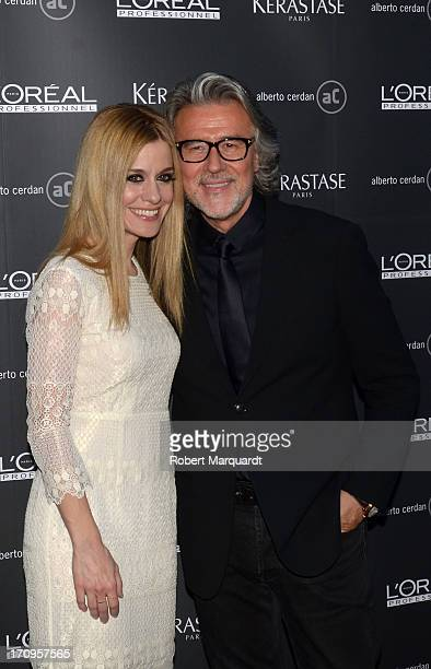 Alexandra Jimenez and Albert Cerdan pose during a photocall for 'Albert Cerdan's Hair Salon 40th Anniversary' at the L'Oreal Academy Salon on June 20...
