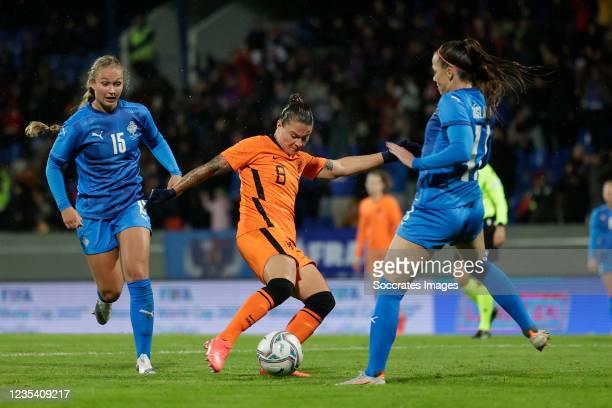 Alexandra Johannsdottir of Iceland Women, Sherida Spitse of Holland Women, Hallbera Gisladottir of Iceland Women during the World Cup Qualifier Women...