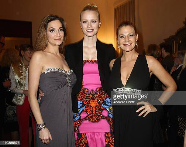Alexandra Kamp Franziska Knuppe and Sophie Schuett attend the reception to the 150th anniversary of Italy unification at the Italian embassy to...