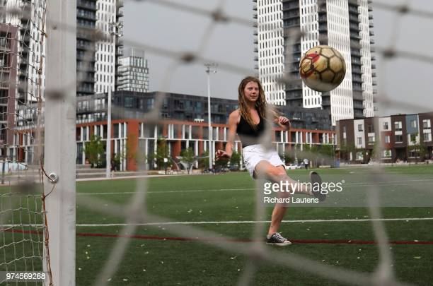 Alexandra Karges took some time out today to kick around a soccer ball on a public pitch on Shuter near Parliament Toronto has a love affair with...