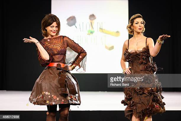 Alexandra Kazan and Eleonore Boccara walk the runway during the Fashion Chocolate show at Salon du Chocolat at Parc des Expositions Porte de...