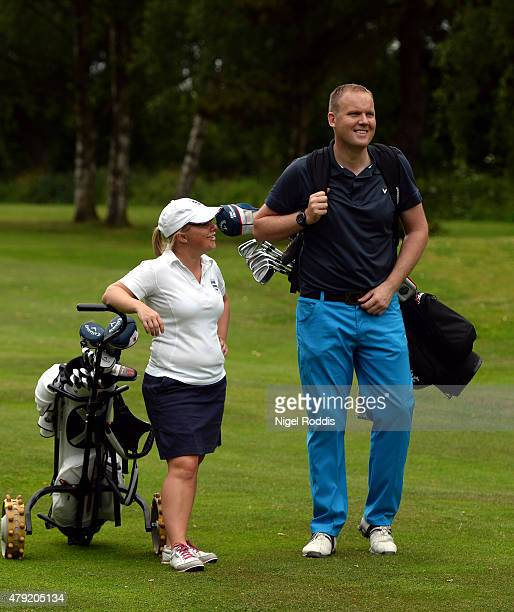 Alexandra Keighley and Mark Smith in action during The Lombard Trophy North East Qualifier on July 2 2015 in Fulford England