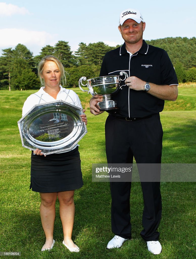 Alexandra Keighley of Huddersfield Golf Club and Gareth Wright of West Linton Golf Club pictured after winning the Glenmuir PGA Professional Championship at Carden Park Golf Club on August 10, 2012 in Chester, England.