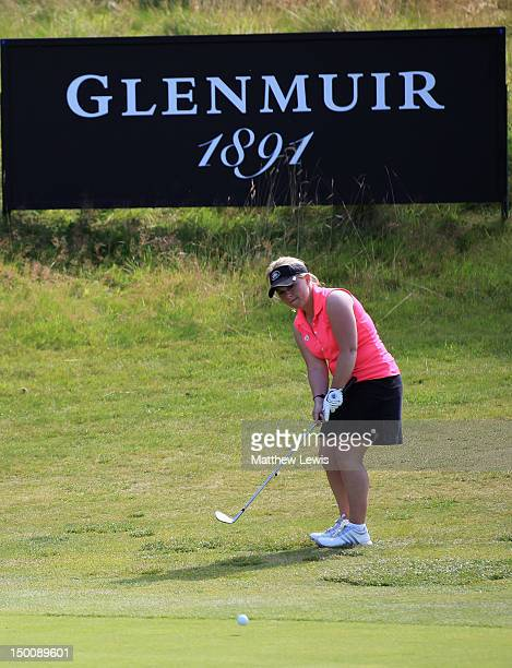 Alexandra Keighley of Huddersfield Golf Club chips onto the 18th green during the final day of the Glenmuir PGA Professional Championship at Carden...
