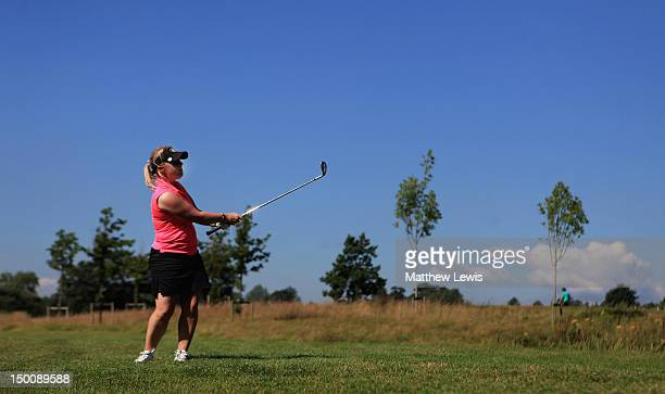 Alexandra Keighley of Huddersfield Golf Club plays a shot from the 14th fairway during the final day of the Glenmuir PGA Professional Championship at...