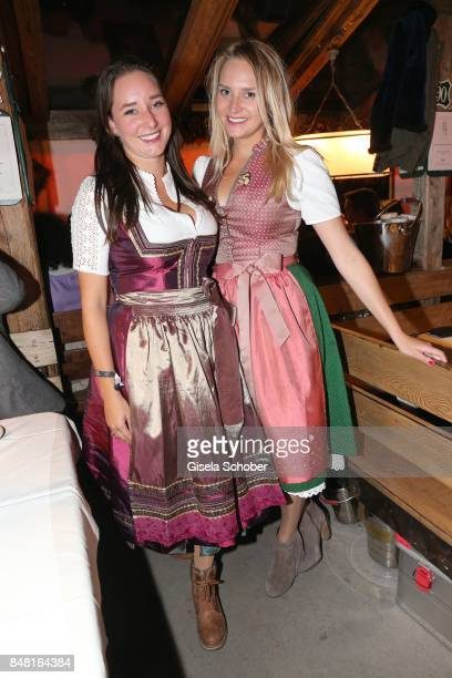 Alexandra Kinshofer and her sister Stephanie Kinshofer daughters of Christa Kinshofer during the opening of the Oktoberfest 2017 at Kaeferschaenke at...