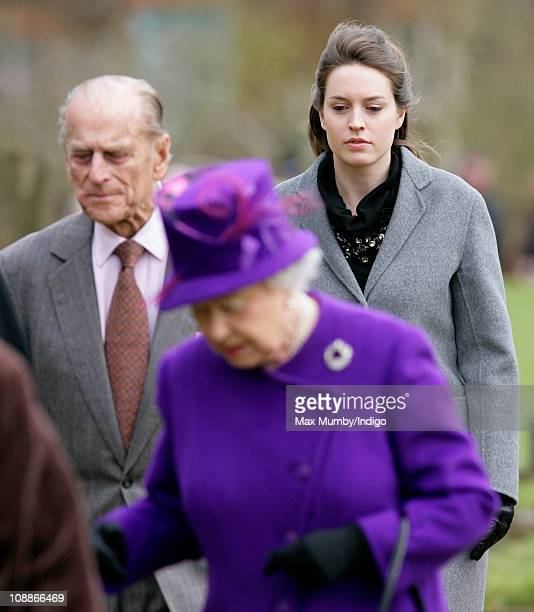 Alexandra Knatchbull accompanies Queen Elizabeth II and Prince Philip The Duke of Edinburgh as they attend a church service on the 59th anniversary...