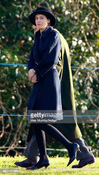 Alexandra Knatchbull leaves St Mary Magdalene Church Sandringham after attending Sunday service with Queen Elizabeth II and Prince Philip Duke of...