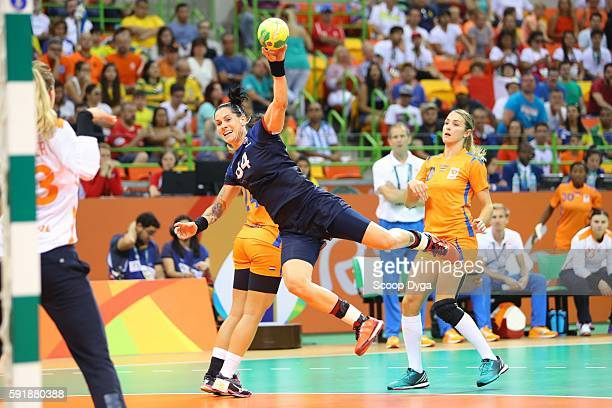 Alexandra Lacrabere of France during handball game between France and Netherlands on Olympic Games 2016 in Rio at Future Arena on August 18 2016 in...