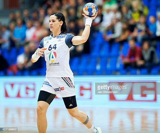 Alexandra Lacrabere of France in action during the Golden League handball match between Norway and France in Blue Water Dokken on Oktober 11 2014 in...