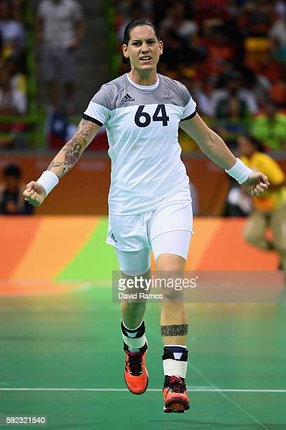 Alexandra Lacrabere of France reacts during the Women's Handball Gold medal match between France and Russia at Future Arena on Day 15 of the Rio 2016...