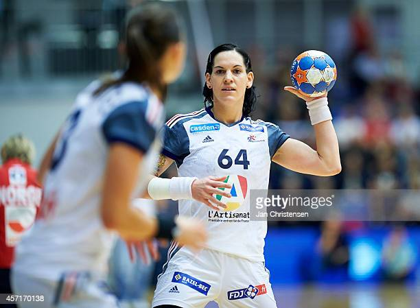 Alexandra Lacrabere of France throws the ball during the Golden League handball match between Norway and France in Blue Water Dokken on Oktober 11...